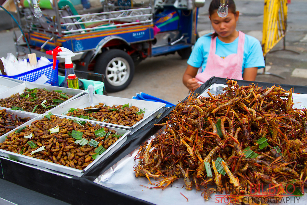Insect for eat in a street stall. Bangkok, Thailand.