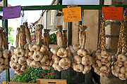 hanging garlic in store