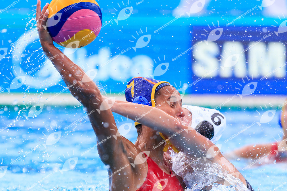 Clara Espar of Spain, Bernadette Doyle of New Zealand<br /> New Zealand (White cap) vs Spain (Blue Cap) Water Polo - Preliminary round<br /> Day 03 16/07/2017 <br /> XVII FINA World Championships Aquatics<br /> Alfred Hajos Complex Margaret Island  <br /> Budapest Hungary July 15th - 30th 2017 <br /> Photo @Marcelterbals/Deepbluemedia/Insidefoto Photo @Marcelterbals/Deepbluemedia/Insidefoto