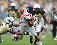 Ole Miss Rebels wide receiver Cody Core (88) vs. Vanderbilt Commodores defensive back Torren McGaster (5) at L.P. Field in Nashville, Tenn. on Saturday, September 6, 2014. Ole Miss won 41-3.