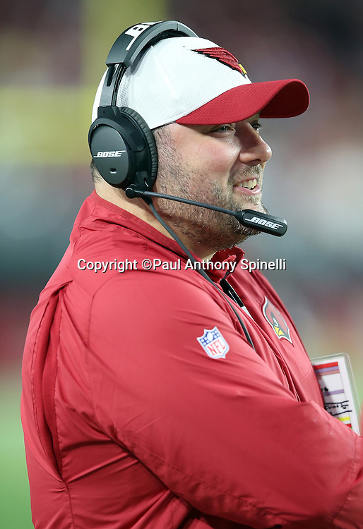 Arizona Cardinals defensive coordinator James Bettcher smiles on the sideline during the 2015 NFL preseason football game against the San Diego Chargers on Saturday, Aug. 22, 2015 in Glendale, Ariz. The Chargers won the game 22-19. (©Paul Anthony Spinelli)