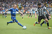 Matty Kosylo (Halifax) runs with the ball and into the Chorley penalty box during the Vanarama National League North Play Off final match between FC Halifax Town and Chorley at the Shay, Halifax, United Kingdom on 13 May 2017. Photo by Mark P Doherty.