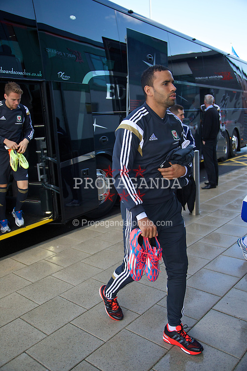 NEWPORT, WALES - Tuesday, October 7, 2014: Wales' Hal Robson-Kanu arrives for training at Dragon Park National Football Development Centre ahead of the UEFA Euro 2016 qualifying match against Bosnia and Herzegovina. (Pic by David Rawcliffe/Propaganda)