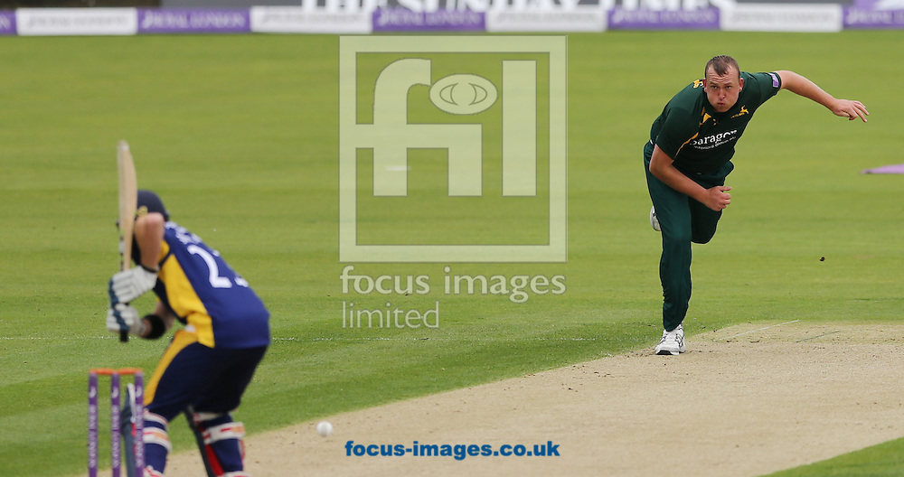 Luke Fletcher of Nottinghamshire Outlaws bowling to Mark Stoneman of Durham County Cricket Club during the Royal London One Day Cup match at Emirates Durham ICG, Chester-le-Street<br /> Picture by Simon Moore/Focus Images Ltd 07807 671782<br /> 06/09/2014