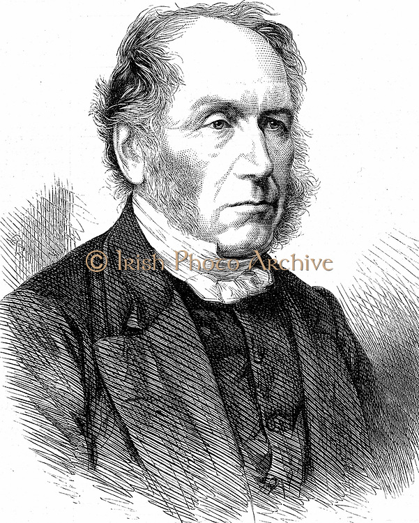 Patrick Bell (1799-1869) Scottish clergyman; inventor of mechanical reaper (c1827) which Cyrus McCormick perfected. Wood engraving 1868