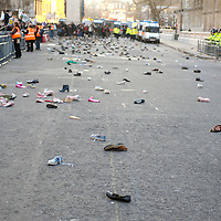 London Jan 3rd Shoes litter Whitehall as protesters opposed to Israeli military action in the Gaza Strip throw shoes towards Downing Street during a demonstration in Whitehall in London, on January 3, 2009. Israeli air strikes claimed a Hamas military commander and destroyed a Gaza school today as an assault on Gaza which has so far killed more than 440 Palestinians entered its second week....Please telephone : +44 (0)845 0506211 for usage fees .***Licence Fee's Apply To All Image Use***.IMMEDIATE CONFIRMATION OF USAGE REQUIRED.*Unbylined uses will incur an additional discretionary fee!*.XianPix Pictures  Agency  tel +44 (0) 845 050 6211 e-mail sales@xianpix.com www.xianpix.com