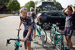 Eva Buurman (NED) laughs with her teammates at Ladies Tour of Norway 2018 Stage 3. A 154 km road race from Svinesund to Halden, Norway on August 19, 2018. Photo by Sean Robinson/velofocus.com