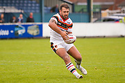 Bradford Bulls hooker Scott Moore (34) passes the ball  during the Kingstone Press Championship match between Swinton Lions and Bradford Bulls at the Willows, Salford, United Kingdom on 20 August 2017. Photo by Simon Davies.