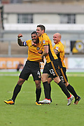 Newport  Joss Labadie (4) scores and celebrates his goal 2-0 second half  during the EFL Sky Bet League 2 match between Newport County and Yeovil Town at Rodney Parade, Newport, Wales on 7 October 2017. Photo by Gary Learmonth.