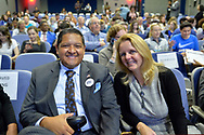 Hempstead New York, October 5, 2018. L-R, Democrats JUAN VIDES, candidate for NYS 29th Assembly District, and DEBRA MULE, Nassau County Legislator for District 5, pose before start of Sen. Gillibrand's Town Hall Meeting at Hofstra University on Long Island.