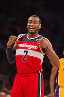 22 March 2013: Guard (2) John Wall of the Washington Wizards celebrates as the Wizards take the lead against the Los Angeles Lakers during the second half of the Wizards 103-100 victory over the Lakers at the STAPLES Center in Los Angeles, CA.