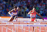 Tiffany Porter GBR (left) competing in the 100m hurdles with Queen Harrison USA during the IAAF  Diamond League Sainsbury's Birmingham Grand Prix at Alexander Stadium, Birmingham<br /> Picture by Alan Stanford/Focus Images Ltd +44 7915 056117<br /> 07/06/2015
