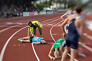 HELSINGBORG, SVERIGE 2017-08-26: John Foitzik fr&aring;n Sp&aring;rv&auml;gens FK efter 1500 meters finalen under SM i friidrott p&aring; Hedens IP, Helsingborg den 26 augusti 2017. Foto: Lars Dareberg/Ombrello<br /> ***BETALBILD***