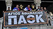 Udine, 16 Febbraio 2012.UEFA Europa League 2011/2012.  16^ di finale..Udinese vs PAOK Salonicco. Stadio Friuli..Nella Foto: Tifosi del PAOK in centro a Udine..© foto di Simone Ferraro