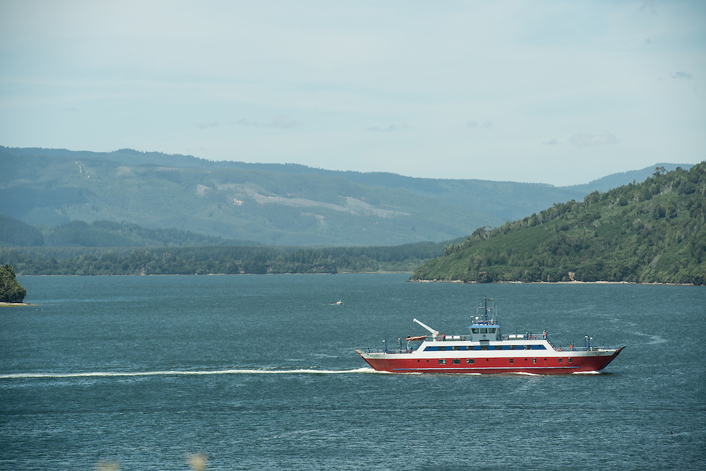 Ferry Boat in Lagoon, Chile