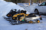 The primary means of getting from place to place in the Keweenaw during winter is the snowmobile. During my two nights in Calumet, there were far greater numbers of snowmobiles in the area parking lots than cars and trucks.