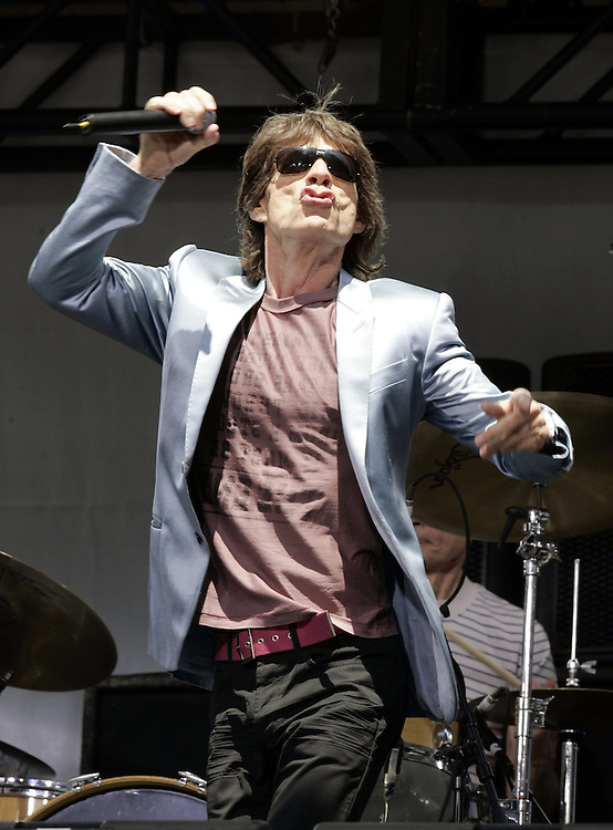 Mick Jagger of the Rolling Stones preform before a news conference at which they announced the new concert tour. At the Juilliard School of Music in New York Tuesday 10 May 2005.