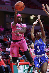 NORMAL, IL - February 10: Te Te Maggett defended by Ashli O'Neal during a college women's basketball Play4Kay game between the ISU Redbirds and the Indiana State Sycamores on February 10 2019 at Redbird Arena in Normal, IL. (Photo by Alan Look)