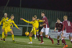 Falkirk's Tom Dallison and Stenhousemuir's Morgyn Neill. Stenhousemuir 4 v 2 Falkirk, 3rd Round of the William Hill Scottish Cup played 24/11/2018 at Ochilview Park, Larbert.
