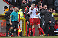 Picture by David Horn/Focus Images Ltd +44 7545 970036.16/03/2013.Lucas Akins of Stevenage celebrates scoring his side's fourth goal with James Dunne during the npower League 1 match at the Lamex Stadium, Stevenage.
