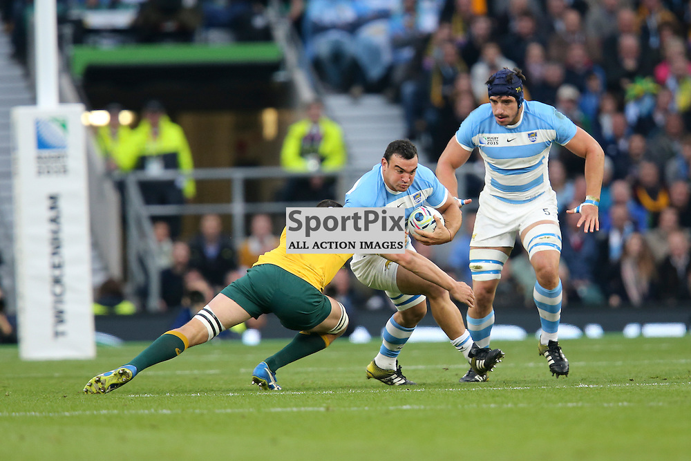 TWICKENHAM, ENGLAND - OCTOBER 25:  Agustin Creevy (capt) of Argentina is tackled by Rob Simmons of Australia during the 2015 Rugby World Cup semi-final two match between Argentina and Australia at Twickenham Stadium, London on October 25, 2015 in London, England. (Credit: SAM TODD | SportPix.org.uk)