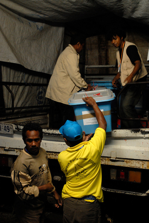 Ballot boxes and other materials for voting are loaded onto trucks and transported from Gleno to outer areas where they are made ready for voting on June 30 2007 Timor-Leste Parliamentary Elections. Ermera District