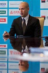 Dejan Kontrec at press conference of Olympic committee and Hokejska zveza Slovenije prior to the Qualification for the Olympic games Sochi 2014, on February 1, 2013 in Ljubljana, Slovenia. (Photo By Matic Klansek Velej / Sportida.com)