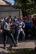 ROME, ITALY - SEPTEMBER 13: Casapound's extreme right-wing militants (pictured) clash with the anti-fascists in front of the Fourth Town Hall, where was decide the future of the Centre for migrants transiting 'FRANTOIO' run by the Red Cross to the District Tiburtino IV.  on September 13, 2017 in Rome, Italy. (Photo by Stefano Montesi )
