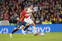October 15, 2018 - Seville, Spain - HARRY KANE of England (R ) vies for the ball with SERGIO RAMOS of Spain (L ) during the UEFA Nations League Group A4 soccer match between Spain and England at the Benito Villamarin Stadium (Credit Image: © Daniel Gonzalez Acuna/ZUMA Wire)