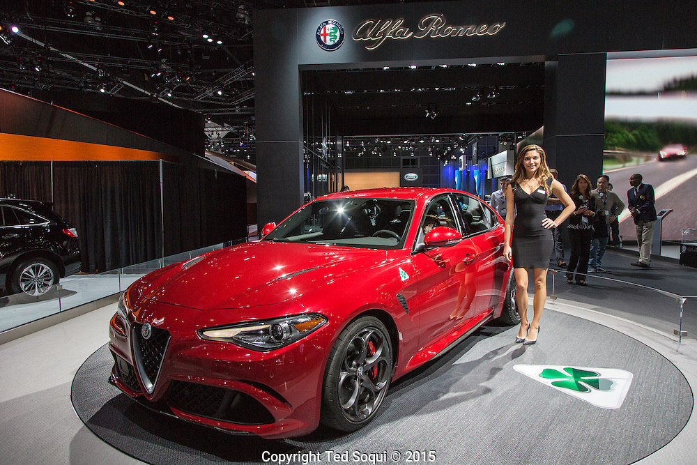 2017 Alpha Romeo Guila Quadrafiligio (4 Leaf Clover). This $70K Italian super car comes with a V6 engine that produces 505hp.<br /> The 2015 Los Angeles Auto Show at the LA Convention Center.