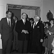 29.6.63<br />  President Kennedy,Frank Aiken,Minister of External Affairs(behind) , President Eamon de Valera,  lets Dubliners see him for the last time in the U.S Embassy  en route to London for his meeting with Mr McMillar this evening. *** Local Caption *** It is important to note that under the COPYRIGHT AND RELATED RIGHTS ACT 2000 the copyright of these photographs are the property of the photographer and they cannot be copied, scanned, reproduced or electronically stored in any form whatsoever without the written permission of the photographer