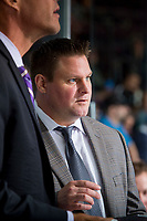 PENTICTON, CANADA - SEPTEMBER 9: JF Houle, assistant coach of the # of Edmonton Oilers stands on the bench against the Winnipeg Jets on September 9, 2017 at the South Okanagan Event Centre in Penticton, British Columbia, Canada.  (Photo by Marissa Baecker/Shoot the Breeze)  *** Local Caption ***
