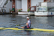 "Henley on Thames, United Kingdom, 3rd July 2018, Wednesday,  ""Henley Royal Regatta"", Diamond Challenge Sculls, Finalist, Kjetil BORCH, NOR M1X, paddles down the course on way to the Start , Henley Reach, River Thames, Thames Valley, England, UK."