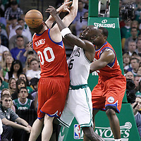 21 May 2012: Boston Celtics power forward Kevin Garnett (5) defends on Philadelphia Sixers center Spencer Hawes (00) during the Boston Celtics 101-85 victory over the Philadelphia Sixer, in Game 5 of the Eastern Conference semifinals playoff series, at the TD Banknorth Garden, Boston, Massachusetts, USA.