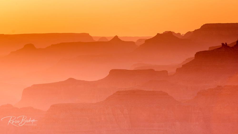 Evening light over the Grand Canyon, Grand Canyon National Park, Arizona USA