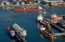 Aerial view of oil tankers and ships docked in the Port of Houston.