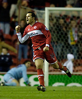 Photo: Jed Wee.<br /> Middlesbrough v Crystal Palace. Carling Cup. 30/11/2005.<br /> <br /> Middlesbrough's Mark Viduka celebrates his goal.