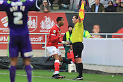 Bristol City forward Jonathan Kodjia appeals to the linesman as the decision goes against him during the Sky Bet Championship match between Bristol City and Charlton Athletic at Ashton Gate, Bristol, England on 26 December 2015. Photo by Jemma Phillips.