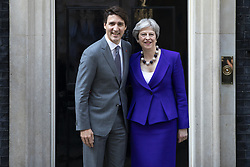 April 18, 2018 - London, London, UK - London, UK. Prime Minister of Canada Justin Trudeau (L) and Prime Minister Theresa May (R) outside 10 Downing Street. (Credit Image: © Rob Pinney/London News Pictures via ZUMA Wire)