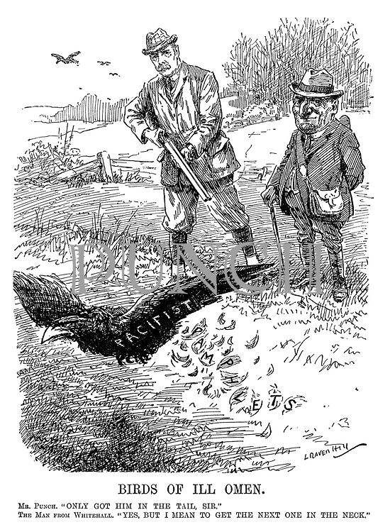 "Birds of Ill Omen. Mr Punch. ""Only got him in the tail, sir."" The Man from Whitehall.  ""Yes, but I mean to get the next one in the neck."" (a Pacifist crow flies off after leaving Pamphlets in a farmer's field during WW1)"