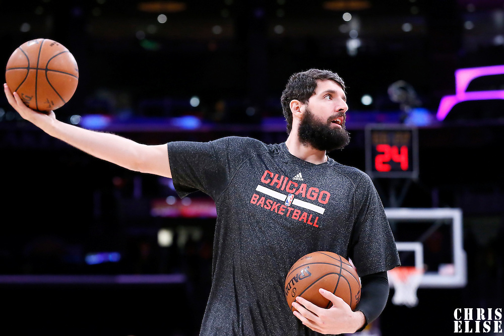 29 January 2015: Chicago Bulls forward Nikola Mirotic (44) warms up prior to the Los Angeles Lakers 123-118 2OT victory over the Chicago Bulls, at the Staples Center, Los Angeles, California, USA.