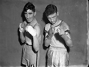 On left is H Bradley (Phoenix) at the National Junior Boxing Championships - light/middleweight runner up. On right is M Doherty (Robinsons Belfast) Light Middleweight winner. 18/12/1952