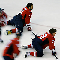28 April 2009:  Washington Capitals left wing Alex Ovechkin (8) and left wing Alexander Semin (28) stretch as the team warms up prior to the game against the New York Rangers in the seventh game of the Eastern Conference NHL quarterfinal playoff game at the Verizon Center in Washington, D.C.  The Washington Capitals defeated the New York Rangers 2-1 in the Eastern Conference NHL quaterfinal playoff to advance to the second round of the playoffs.