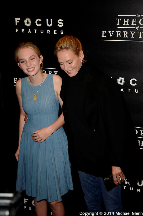 NYC, New York - October 20: Maya Thurman-Hawke, Uma Thurman on the red carpet for their new motion picture The Theory of Everything at Museum of Modern Art MOMA on October 20, 2014 in New York, New York. Photo Credit: Michael Glenn / Retna Ltd