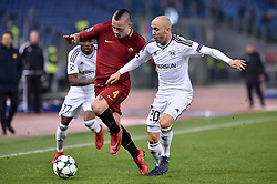 December 5, 2017 - Rome, Italy - Radja Nainggolan of Roma is challenged by Richard Almeida of Qarabag during the UEFA Champions League match between Roma and Qarabag at Stadio Olimpico, Rome, Italy on 5 December 2017  (Credit Image: © Giuseppe Maffia/NurPhoto via ZUMA Press)