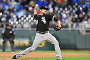 KANSAS CITY, MO - MARCH 31: Chicago White Sox relief pitcher Danny Farquhar (43) relievers a pitch during a MLB game between the Chicago White Sox and the Kansas City Royals on March 31, 2018, at Kauffman Stadium, Kansas City, MO. The White Sox won, 4-3. (Photo by Keith Gillett/Icon Sportswire).