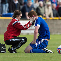 Picture by Christian Cooksey/CookseyPix.com.<br /> All rights reserved. For full terms and conditions see www.cookseypix.com<br /> <br /> Juniors - Auchinleck Talbot v Glenafton Athletic. Glenafton physio checks out Ryan McChesney