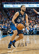 OKLAHOMA CITY, OK - FEBRUARY 26: Orlando Magic Guard Evan Fournier (10) making move towards the basket versus Oklahoma City Thunder at Chesapeake Energy Arena Oklahoma City, OK (Photo by Torrey Purvey/Icon Sportswire)