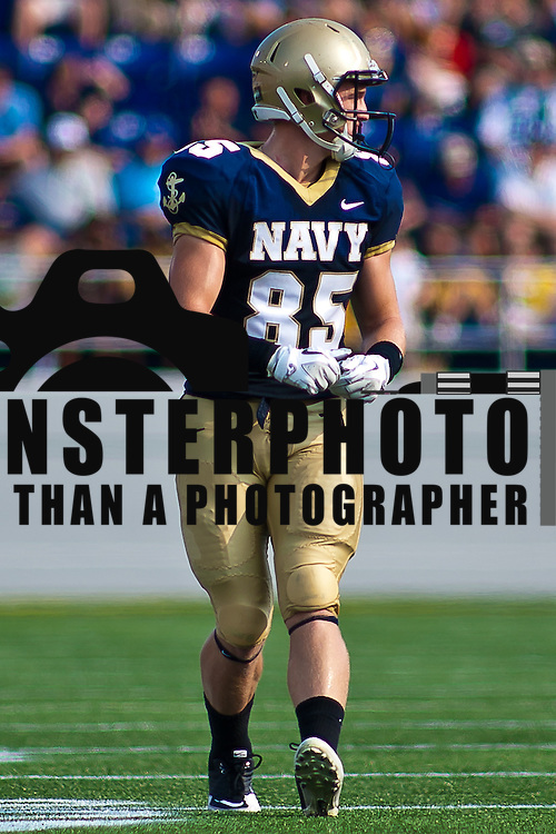 Navy Wide receiver Matt Aiken #85 Saturday Sept. 3, 2011 at Marine Corps Memorial Stadium in Annapolis Maryland.<br /> <br /> Navy would go on to defeat Delaware 40-17 Navy leads the all-time series against the Blue Hens, 9-7, including a 35-18 victory in 2009 when quarterback Ricky Dobbs rushed for five touchdowns. <br /> <br /> Navy will hit road for a show down with Western Kentucky next Saturday Sept. 10, 2011 in Bowling Green, Ky.
