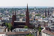 Blick auf Wiesbaden mit Marktkirche, Wiesbaden, Hessen, Deutschland | view of city of Wiesbaden and Marktkirche, Wiesbaden, Hesse, Germany